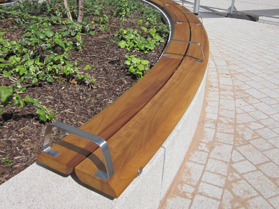 Curved Wall-Mounted Backless Basic Bench