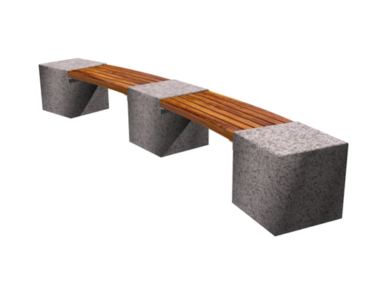 Curved Granite Bookend Bench