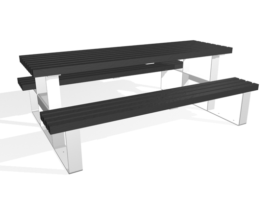 Essentials Picnic Bench With Black Timber Slats
