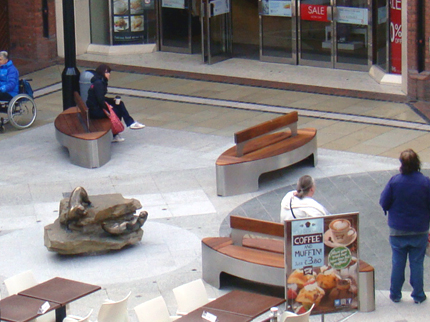 Stainless Steel & Iroko Petal Benches