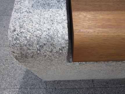 Flamed Granite With Oiled Iroko